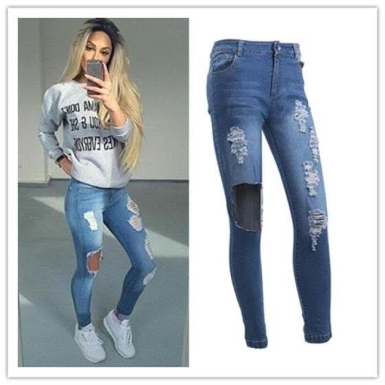 Women Ladies Fashion Dark Blue Ripped SkiK59y Jeans Sexy Denim Pants