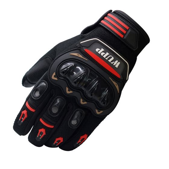 Riding Bike Racing Motorcycle Protective Armor Short Leather Glove Mesh Black XL