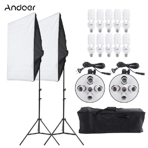 Andoer Photography Studio Portrait Product Light Lighting Tent Kit Photo Video Equipment(2 * Softbox+2 * 5in1 Light Socket+10 * 45