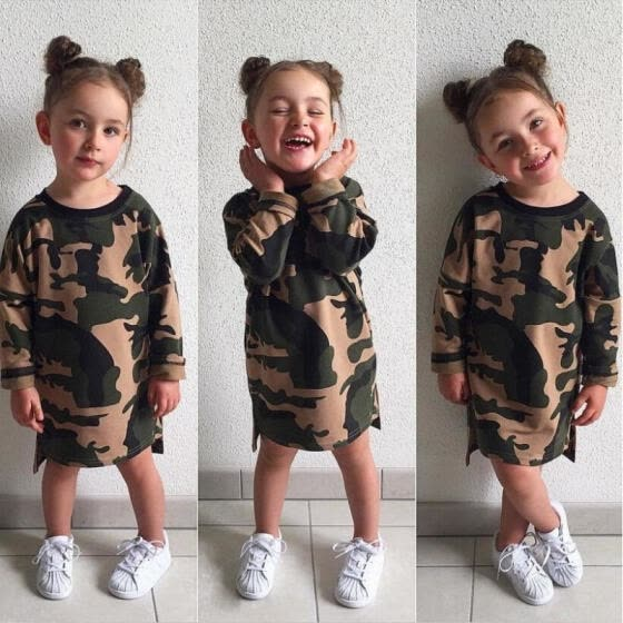 Camouflage Toddler Kids Girls Dress Long Sleeve Party Pageant Princess Dresses