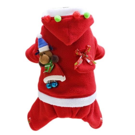 CW-Pet Winter Clothes Christmas Dog Puppies Hoodies winter Warm Soft Four-Legged Dog Coats