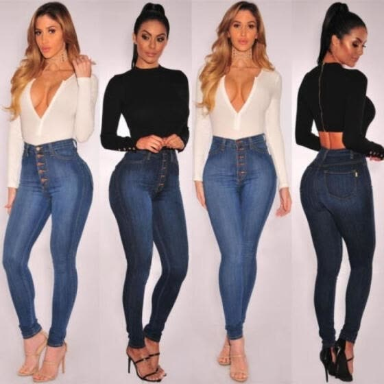 Fashion Women SexyHigh Waist Skinny Jeans Ladies Slim Stretch Casual Pants Hot Sale