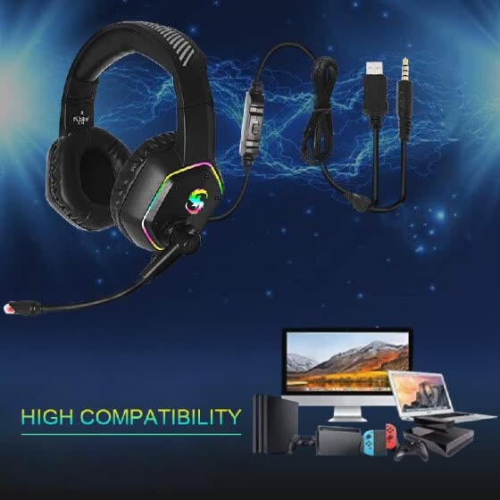 KUBITE K-15 Gaming Headset 3.5mm+USB Plug Stereo Over-Ear Headphone with Slashing RGB Light Adjustable Microphone Volume Control f