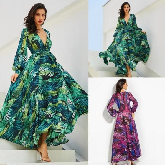 Women Casual Baggy Boho Solid Colour Maxi Long Dress Holiday Kaftan Plus Size