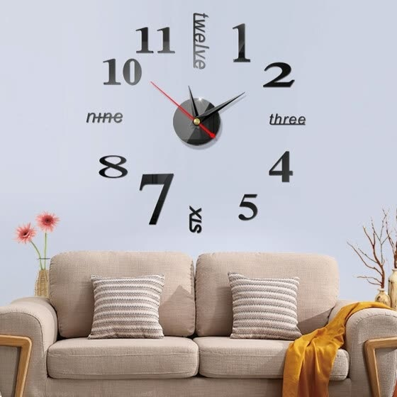 Large Wall Clock Modern Designed 3D Wall Sticker Clock Silent Home Decor Quartz