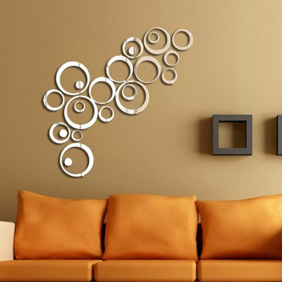 23pcs 3D Circles Mirror Wall Sticker DIY Decal Vinyl Mural Home Decor Removable