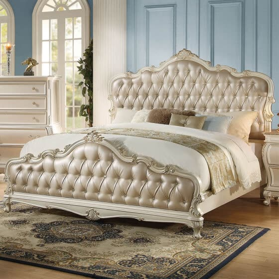 ACME Chantelle Queen Bed in Rose Gold PU & Pearl White 23540Q
