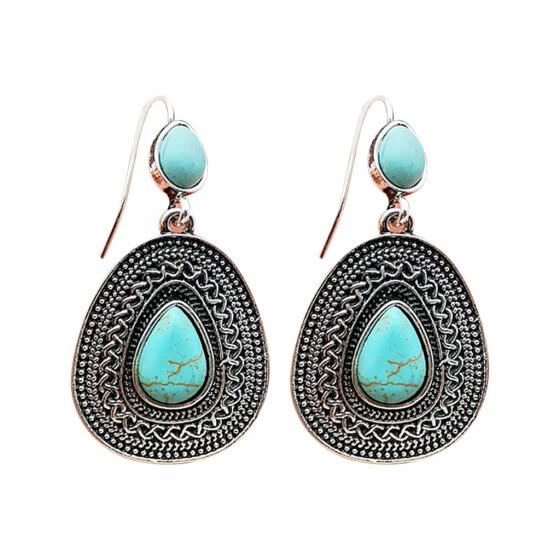 Coerni Vintage Boho Turquoise Gemstone Drop Dangle Hooks Earrings Wedding Engagement