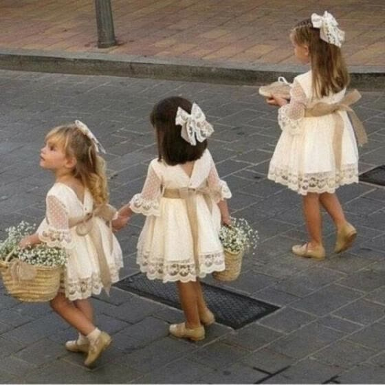 Flower Girl Dress Lace Flower Kids Baby Princess Pageant Party Bridesmaid Dresses