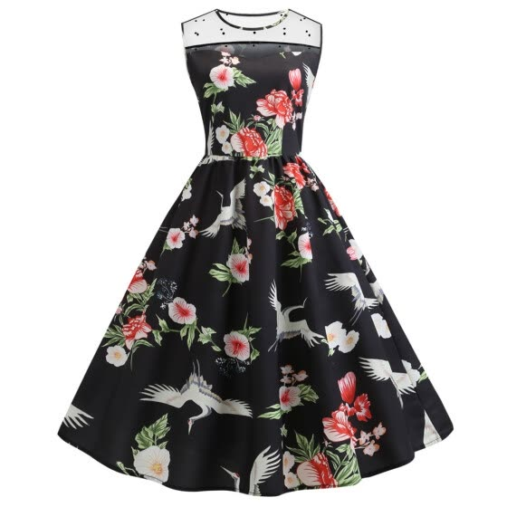Fashion Women Mesh Sleeve Floral Printed O-Neck Vintage Ball Gown Casual Dress