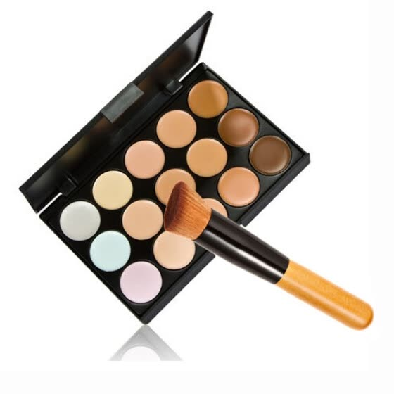 Hot 15 Colors Contour Face Cream Makeup Concealer Palette Powder Brush