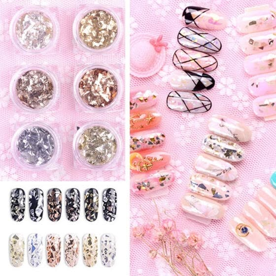 6bottles/set Irregular Foil Nail Art Sticker Glass Fragment Nails Decor (C)