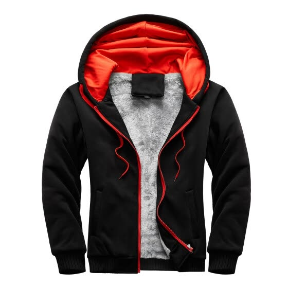 Mens Hoodie Winter Warm Villus Zipper Sweater Jacket Outwear Coat