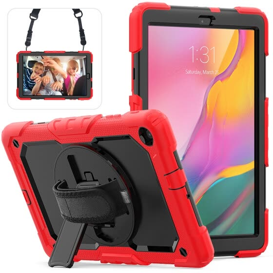 Samsung Galaxy Tab A 10.1 T510 T515 Case Tablet Back Case Build-in Kickstand PC + Silicone Cover Drop Protection