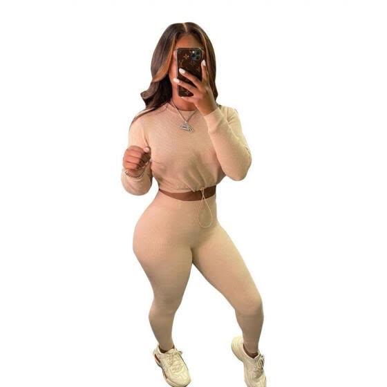 ZAXARRA Lady Yoga Crop Top High Waist Tight Pants 2PCS Autumn Outfit