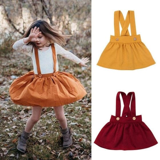 Kids Baby Girls Suspender Skirt Overalls Dress Outfits Party Clothes