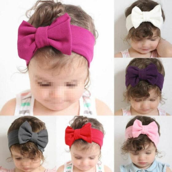Cute Toddler Girls Kids Baby Big Bow Hairband Headband Stretch Turban Knot