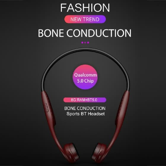 H10 Bone Conduction Headset  5.0 Wireless Headphones 8GB MP3 Player with Microphone for Smart Phones Tablet PC Notebook
