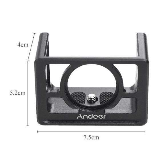 Andoer Metal Camera Cage Mount Protective Case with 1/4 Inch Screws Cold Shoe Compatible with  RX100 VI VII Cameras