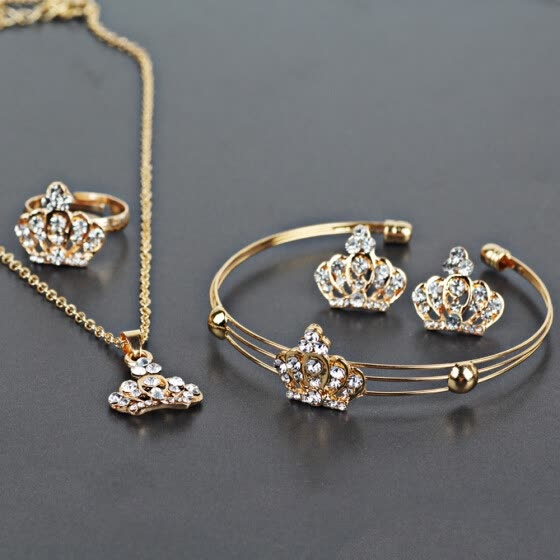 Women's Elegant Vintage Imperial Crown Necklace Statement Earrings Jewelry Set