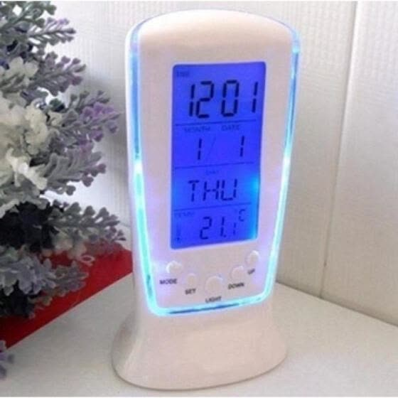New Style LED Digital Clock Alarm Clock With Blue Backlight Electronic Despertador Gifts (Size:6.5*12.5 cm) (Color: Blue)
