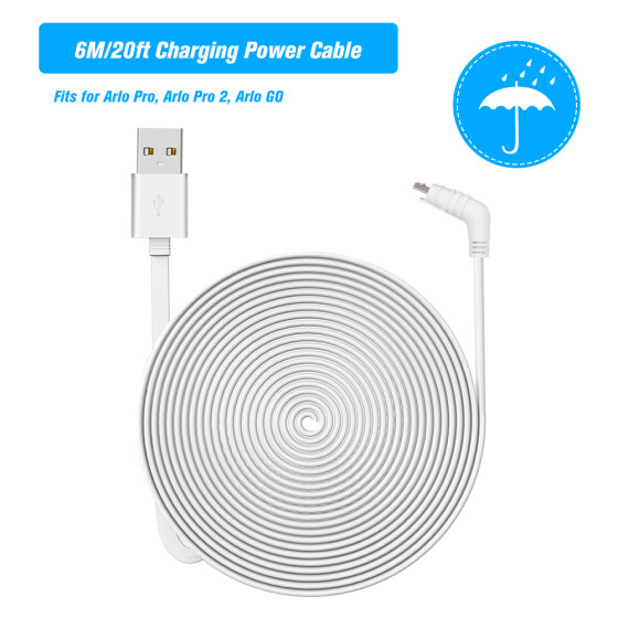 6M//20ft USB Charging Power Cable with Plug for Arlo Pro//Arlo Pro2//Arlo GO Camera