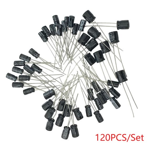 120pcs 0.22UF to 470UF 12 Values Aluminum Electrolytic Capacitor assortment Kit Fan Repair Accessory