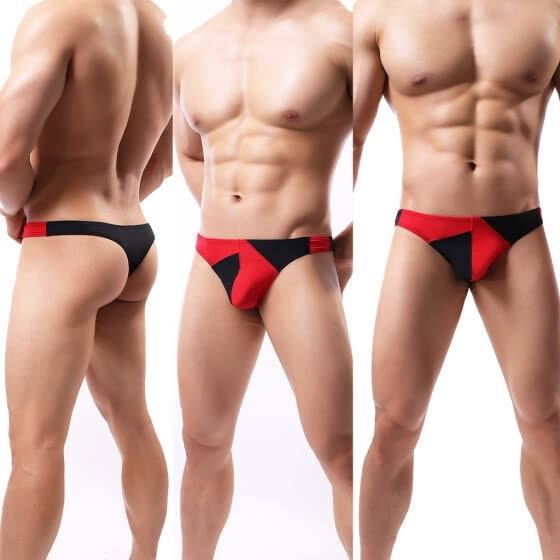 3PCS Men's Low Waist Raised Stitching Thong T-back G-shirt Bikini Underwear