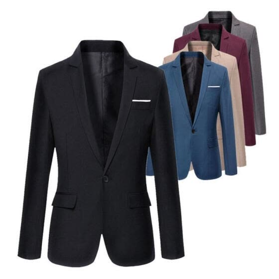 Fashion Men´s Western-style Clothes Casual Coat Slim Fit Formal One Button Suit Blazer Coat Jacket Tops
