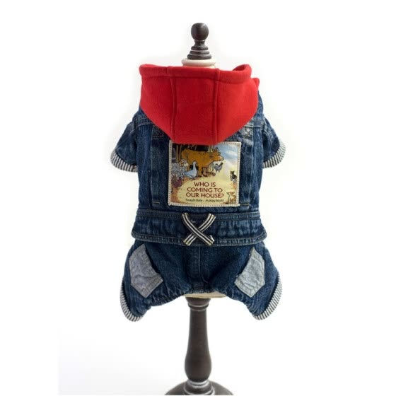 Dog Fashion Cute Thicken Red Hat And Four-legged Jeans Autumn Winter Pet Clothes