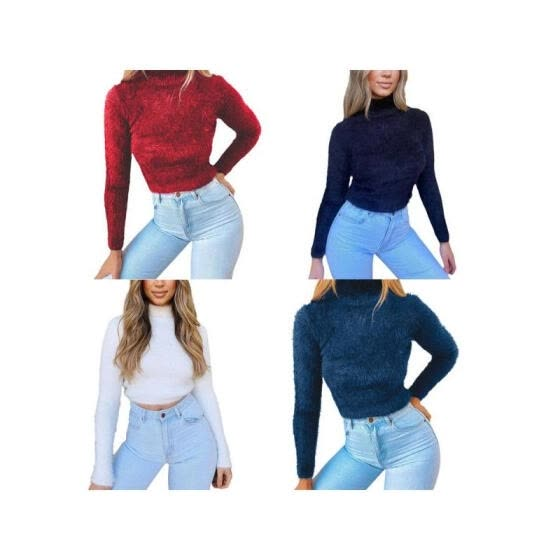 Women Fashion Candy Color Sweater, High Neck Plush Fleece Crop Jumper Outwears (S / M / L / XL)
