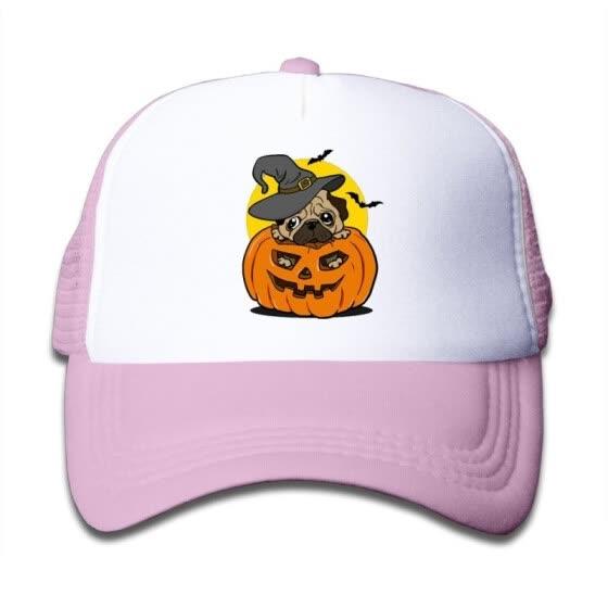 cde1dc2a6b6 Shop Halloween Pug Dog Snapback Hat Adjustable Mesh Cap For Boy ...