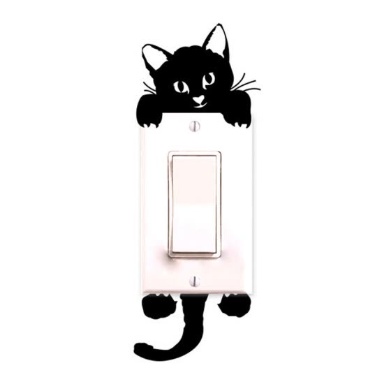 Cat Wall Stickers Light Switch Decor Decals Art Mural Baby Nursery Room