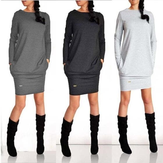 Womens Winter Sweatshirt Dress Ladies Hoodie Pullover Jumper Pockets Sweater Top