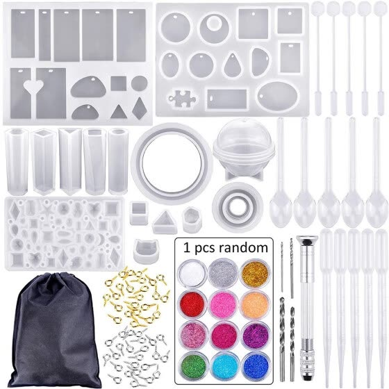 8Silicone Jewelry Casting Molds Diy Crystal Epoxy Tool Set Bracelet Pendant Mold Combination with Drill And Bag