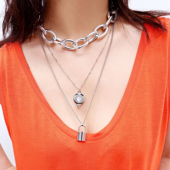 Vintage Metal  Plate Lock Sweater Chain Ladies multilayer necklace jewelry