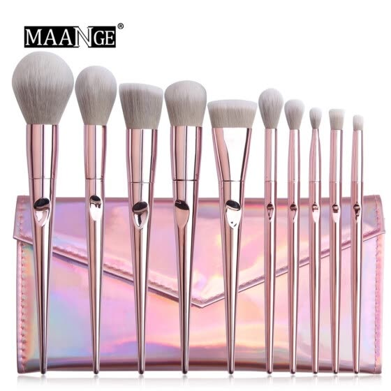 Dream castle 10 Pcs Pink Makeup Brushes Blush And Eye Shadow Brushe And Makeup Bag Set