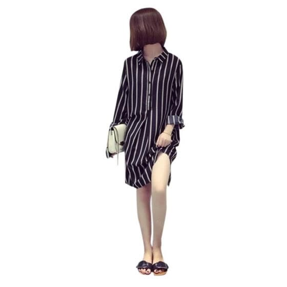 Women Plus Size Vertical White-black Stripes Dress Loose T Shirt Long Sleeve Dress