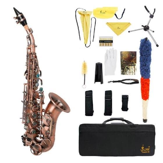 Red Antique Soprano Saxophone Bb Key Woodwind Instrument Brass Material with Carrying Case Sax Stand Reed Gloves Cleaning Cloth Br
