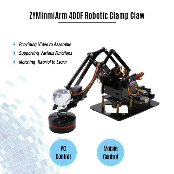 Robotic Arm 4DOF Mechanical Metal Clamp Claw Kit DIY Education Kid Gift Toy with Servo Controller Free PC Software APP for Program