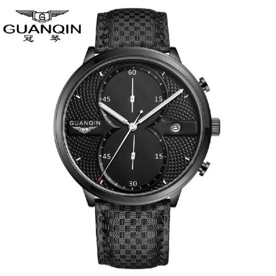 GUANQIN 2016 Fashion Men's Luxury Top Brand Big Dial Full Black Sport Quartz Watch with Stopwatch Male Wristwatch