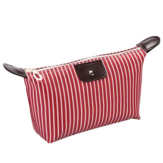 Bluelans Folding Stripes Print Waterproof Makeup Bag Zipper Travel Cosmetic Organizer