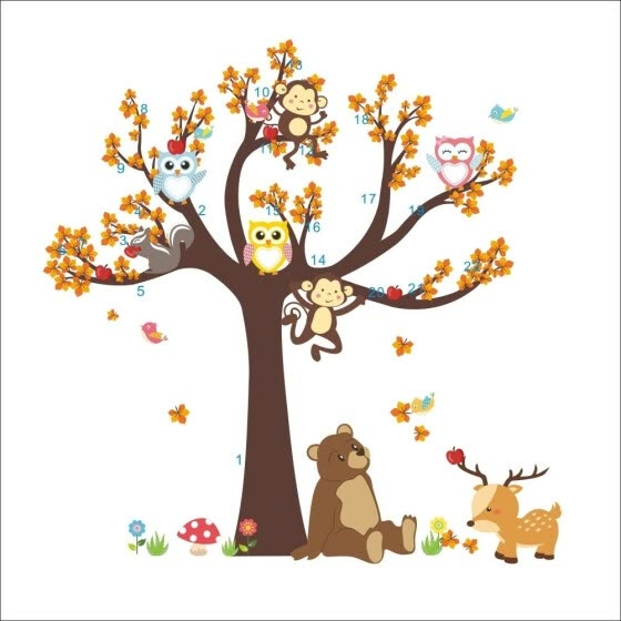 Cartoon Monkey Bear Animals Tree Wall Sticker PVC Mural Decal Baby Room Decor