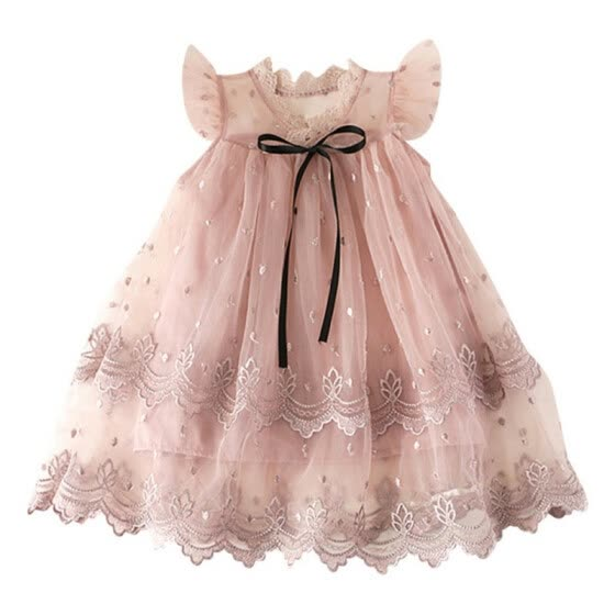 Summer Girls Lace Fly Sleeves Dress Flower Decoration Birthday Princess Dresses Ball Gown Frocks Dresses