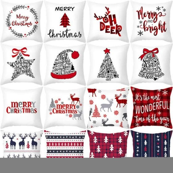 Brand Christmas Pillow Covers Print Throw Cushion Covers for Home Office Car Decoration