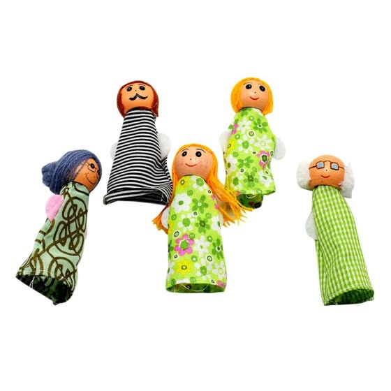 TOYFUNNY 5Pcs Family Finger Puppets Playset Children's Gift Hand Puppets Christmas Gifts