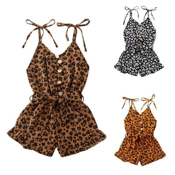 Breathable Little Girls Suspender Shorts, Summer Autumn Children Personalized Leopard Print Jumpsuit Sleeveless Siamese Trouse