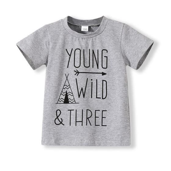 Children Gray Young Wild Three Birthday Brother Twin Letter Print Short Sleeve T-Shirts