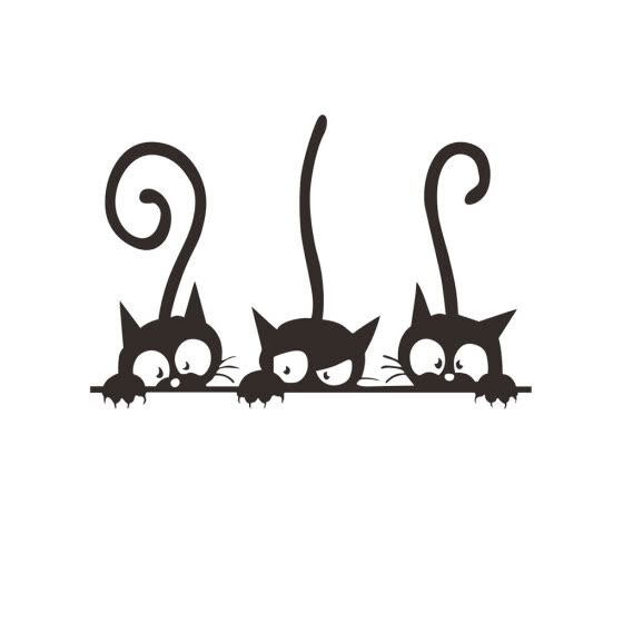 1111Fourone Cat Wall Stickers Cats Self Adhesive Kids Wall Decals Wall Art Murals Living Room Baby Rooms DIY Decoration