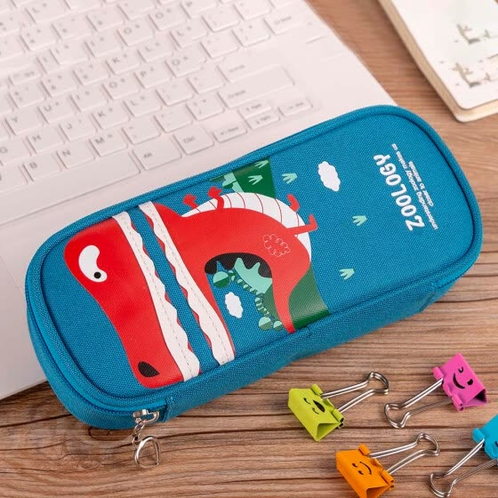 Cute Cartoon Student Leather Pencil Pen Case Box Makeup Pouch Brush Holder Bag